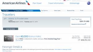 Atlanta to Turks & Caicos: American Airlines Booking Page