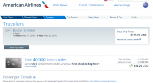 Boston to Miami: American Airlines Booking Page