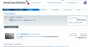 Boston to Maui: American Booking Page