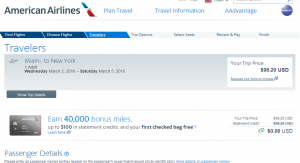 Miami to NYC: American Airlines Booking Page