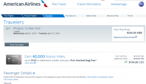 Phoenix to NYC: American Airlines Booking Page