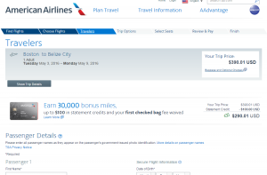 Boston to Belize City: American Airlines Booking Page
