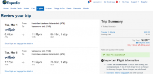 Atlanta to Vancouver: Expedia Booking Page