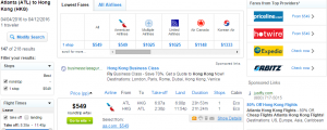 Atlanta to Hong Kong: Fly.com Results Page