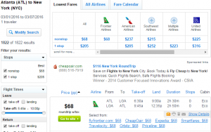 Atlanta to NYC: Fly.com Results Page