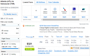 Atlanta to Vancouver: Fly.com Results Page