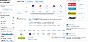 Boston to Honolulu: Fly.com Booking Page