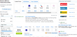 Boston to Big Island: Fly.com Booking Page