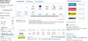 Boston to Orlando: Fly.com Results Page