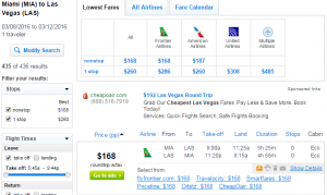 Miami to Las Vegas: Fly.com Results Page