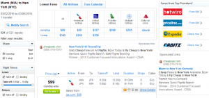 Miami to NYC: Fly.com Results Page