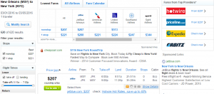 New Orleans to NYC: Fly.com Results Page