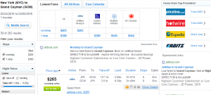 NYC to Grand Cayman: Fly.com Results Page