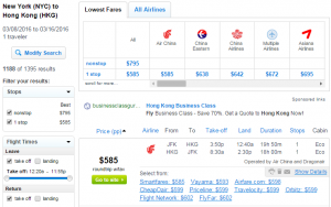 NYC to Hong Kong; Fly.com Results Page