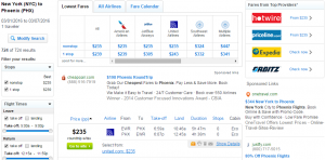NYC to Phoenix: Fly.com Results Page