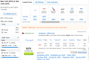 NYC to San Jose: Fly.com Results Page