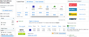 NYC to Shannon: Fly.com Results Page