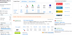 Philly to Orlando: Fly.com Results Page