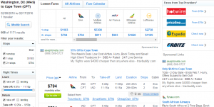 D.C. to Cape Town: Fly.com Results Page