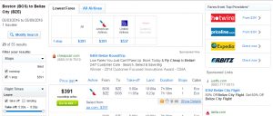 Boston to Belize City: Fly.com Results Page