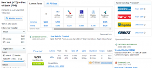 NYC to Trinidad: Fly.com Results Page