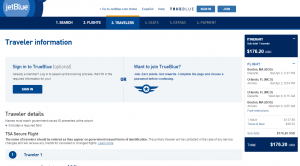Boston to Orlando: JetBlue Booking Page