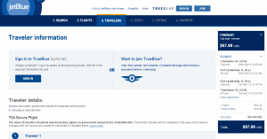 Charleston to Ft Lauderdale: JetBlue Booking Page