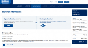 New Orleans to NYC: JetBlue Booking Page