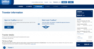 NYC to Grand Cayman: JetBlue Booking Page