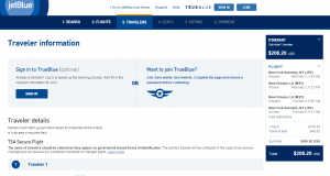 NYC to New Orleans: JetBlue Booking Page