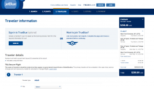 NYC to Trinidad: JetBlue Booking Page