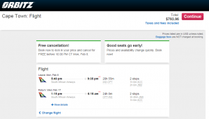 D.C. to Cape Town: Orbitz Booking Page