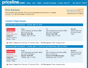 NYC to San Jose: Priceline Booking Page