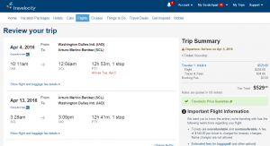 D.C. to Santiago: Travelocity Booking Page