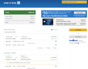 Boston to Honolulu: United Booking Page