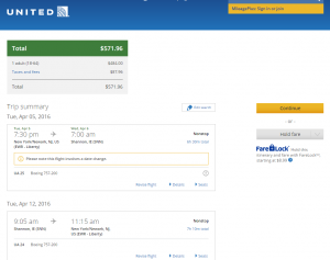 NYC to Shannon: United Airlines Booking Page