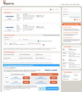 NYC to Dublin: Vayama Booking Page