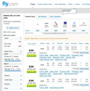 Atlanta-Lima: Fly.com Search Results