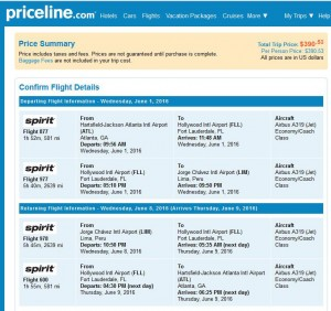 Atlanta-Lima: Priceline Booking Page
