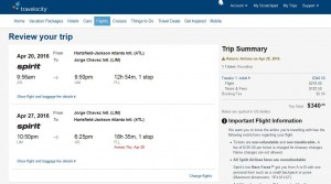 Atlanta-Lima: Travelocity Booking Page