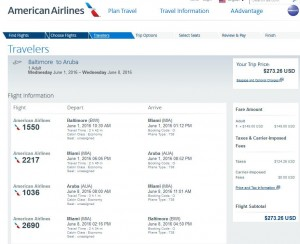 Baltimore-Aruba: American Airlines Booking Page