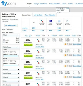 Baltimore-Aruba: Fly.com Search Results