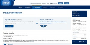 Boston to Nashville: JetBlue Booking Page