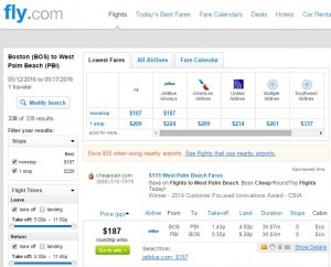 Boston to West Palm Beach: Fly.com Results