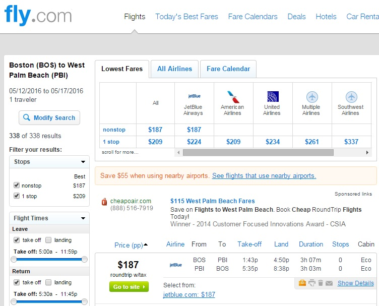 Boston To West Palm Beach Fly Results