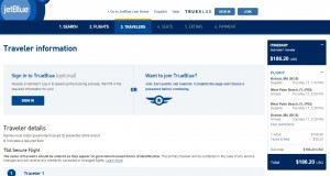 Boston to West Palm Beach: JetBlue Booking Page