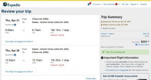 Chicag-Rio de Janeiro: Expedia Booking Page