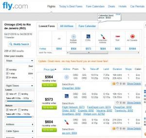 Chicag-Rio de Janeiro: Fly.com Search Results
