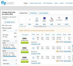 Chicag-Rio de Janeiro: Fly.com Search Results ($604)