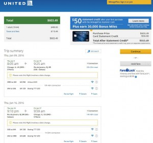 Chicag-Rio de Janeiro: United Airlines Booking Page